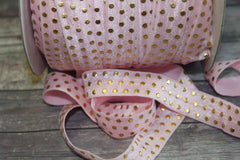 "1 Yard -  5/8"" inch Light Baby Pink with Gold Foil Polka Dots Metallic DIY Headband Supplies Fold Over Elastic FOE per Yard"