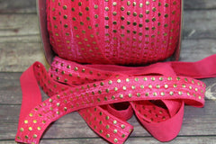 "1 Yard -  5/8"" inch Hot Pink with Gold Foil Polka Dots Metallic DIY Headband Supplies Fold Over Elastic FOE per Yard"