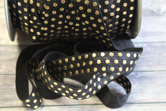 "1 Yard -  5/8"" inch Black with Gold Foil Polka Dots Metallic DIY Headband Supplies Fold Over Elastic FOE per Yard"