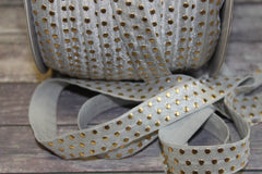 "1 Yard -  5/8"" inch Shell Gray Grey with Gold Foil Polka Dots Metallic DIY Headband Supplies Fold Over Elastic FOE per Yard"