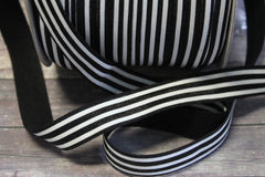 "1 Yard -  5/8"" Black and White Horizontal Stripe DIY Headband Supplies Fold Over Elastic FOE Per Yard"