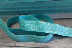 "1 Yard - 5/8"" Light Teal Metallic Shimmery Shiny Sparkle DIY Headband Supplies Fold Over Elastic FOE Per Yard"