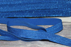 "1 Yard - 5/8"" Royal blue Metallic Shimmery Shiny Sparkle DIY Headband Supplies Fold Over Elastic FOE Per Yard"