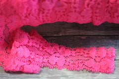 1 Yard -  7/8 inch - Hot Pink Stretch Lace Elastic for Headband