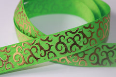 1 Yard 7/8 inch Gold Vines on Lime Green - Filigree Damask Printed Grosgrain Ribbon
