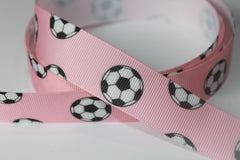 1 Yard 7/8 inch Soccer Balls on Light Pink - Sports - Printed Grosgrain Ribbon