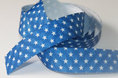 1 yard 7/8 inch - 4th of July White Stars over Blue Polka Dots - Fourth of July - Printed Grosgrain Ribbon