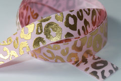 1 Yard 7/8 inch Gold Foil Metallic Leopard Animal Print on Light Pastel Pink -  Printed Grosgrain Ribbon