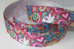 1 Yard 7/8 inch Rainbows, Flowers and Peace Signs -  Printed Grosgrain Ribbon