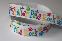 1 Yard 7/8 inch Shelter Pets Rock on White Colorful Letters - Adopt Me - Dog Dogs Printed Grosgrain Ribbon