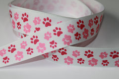 1 Yard 7/8 inch Hot Pink and Light Pink Paw Prints on White - Adopt me - Dogs -  Printed Grosgrain Ribbon