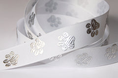 "1 Yard 7/8"" inch Silver Foil Dog Paws on White - Adopt me -  Printed Grosgrain Ribbon Printed Grosgrain Ribbon"