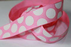 1 Yard 7/8 inch White Big Large Polka Dots on Light Pink  Printed Grosgrain Ribbon
