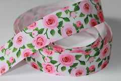 1 Yard 7/8 inch Romantic Roses, Light Pink Flowers and Green Leaves -  Printed Grosgrain Ribbon