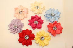 1 Piece  -  SATIN FLOWER  W/ ACRYLIC CENTER for Headband, Hairclip, Hairbow