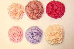 1 Piece  -  SATIN ROLLED FLOWER / ROSE for Headband, Hairclip, Hairbow