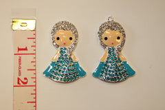 1 PIECE - FROZEN ELSA - RHINESTONE / CRYSTAL AND ENAMEL PRINCESS ACCENT / PENDANT - HIGH QUALITY FLAT BACK
