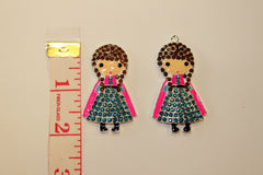 1 PIECE - FROZEN ANNA - METAL RHINESTONE / CRYSTAL AND ENAMEL PRINCESS ACCENT / PENDANT - HIGH QUALITY FLAT BACK