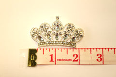 1 PIECE - METAL RHINESTONE CROWN ACCENT C100 - HIGH QUALITY FLAT BACK RESIN