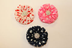1 Piece  -  POLKA DOT POM POM FLOWER WITH METAL CRYSTAL CENTER for Headband, Hairclip, Hairbow