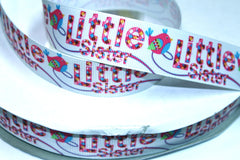 1 yard 1 inch Little Sister (Birdie design) Printed Grosgrain Ribbon