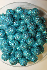 1 Piece  - 20MM ACRYLIC SPARKLE ROUND BEAD - TURQUOISE - CHUNKY - FOR NECKLACE - BRACELET BEADS