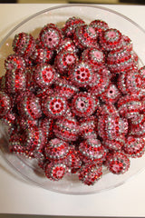 1 Piece  - 20MM ACRYLIC SPARKLE STRIPE ROUND BEAD - PINK, RED, SILVER - CHUNKY - FOR NECKLACE - BRACELET BEADS