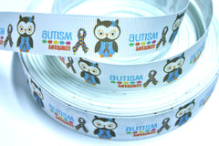 1 Yard 7/8 inch Autism Awareness - Blue/Brown Owl on White - Printed Grosgrain Ribbon