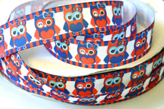 1 yard 1 inch - Cutest 4th of July Owls - Red, White and Blue - owl  - Printed Grosgrain Ribbon