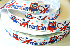 1 yard 1 inch - American 4th of July Owl - Red, White and Blue  - Printed Grosgrain Ribbon