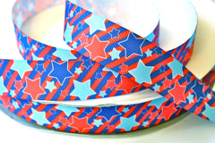 1 yard 1 inch - Stars and Stripes - 4th of July, Red, White and Blue - Printed Grosgrain Ribbon