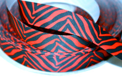 1 yard 1 inch - Red and Black Zebra - Animal Print - Printed Grosgrain Ribbon