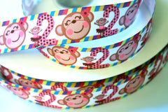 1 yard 1 inch - 2nd Second Birthday Cute Monkey - Printed Grosgrain Ribbon