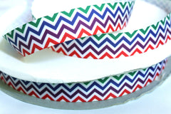 1 yard 1 inch CHEVRON Green, Blue, Purple and Red - Printed Grosgrain Ribbon