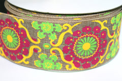 1 Yard 2.5 inch - WIRED - DAMASK YELLOW, PINK, LIME ON NATURAL BURLAP LIKE - HOLIDAY - WREATH -  2 1/2 INCH WIDTH RIBBON
