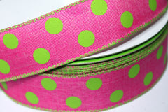 1 Yard 1.5 inch - WIRED - HOT PINK WITH LIME GREEN POLKA DOTS - BURLAP LIKE - HOLIDAY - WREATH -  1 1/2 INCH WIDTH RIBBON