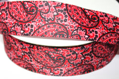 1 Yard 1.5 inch - WIRED - RED PAISLEY BANDANA GROSGRAIN - HOLIDAY - WREATH -  1 1/2 INCH WIDTH RIBBON