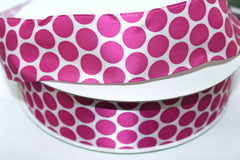 1 Yard 1.5 inch - WIRED - SATIN HOT PINK POLKA DOTS ON WHITE - HOLIDAY - WREATH -  1 1/2 INCH WIDTH RIBBON