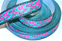 1 yard  1 inch HEARTBREAKER - Pink and Blue with Black Border   - Printed Grosgrain Ribbon