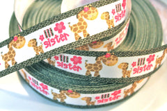 1 yard     1 inch    Lil Sister - Cute Giraffe - Little Sister     -  Printed Grosgrain Ribbon