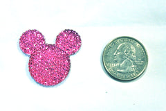 1 Piece -  Hot Pink Sparkle Mouse Head Resin