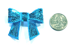 1 Piece -  Turquoise Sequin Bow Accent - Approx. 2 inch