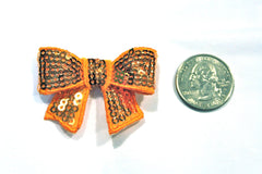 1 Piece -  Orange Sequin Bow Accent - Approx. 2 inch