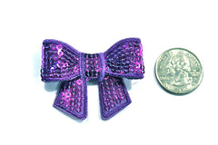 1 Piece -  Purple Sequin Bow Accent - Approx. 2 inch