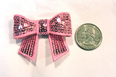 1 Piece -  Light Pink Sequin Bow Accent - Approx. 2 inch