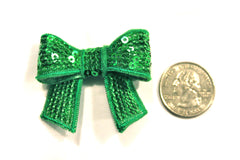 1 Piece -  Green Sequin Bow Accent - Approx. 2 inch