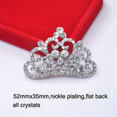 1 Piece  - 50mm x 35mm - Rhinestone Crown Accent  - Princess - High Quality - Metal - Crystal - Flat Back Flatback