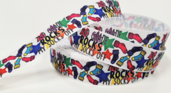 "1 Yard 7/8"" inch 2nd Grade Rocks my Socks off Second - Back to School Printed Grosgrain Ribbon Hair Bow"