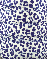 1 Yard -  5/8 inch Purple Cheetah on White - Fold Over Elastic FOE