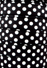 1 Yard - 5/8 inch Big White Dots on Black Fold Over Elastic FOE